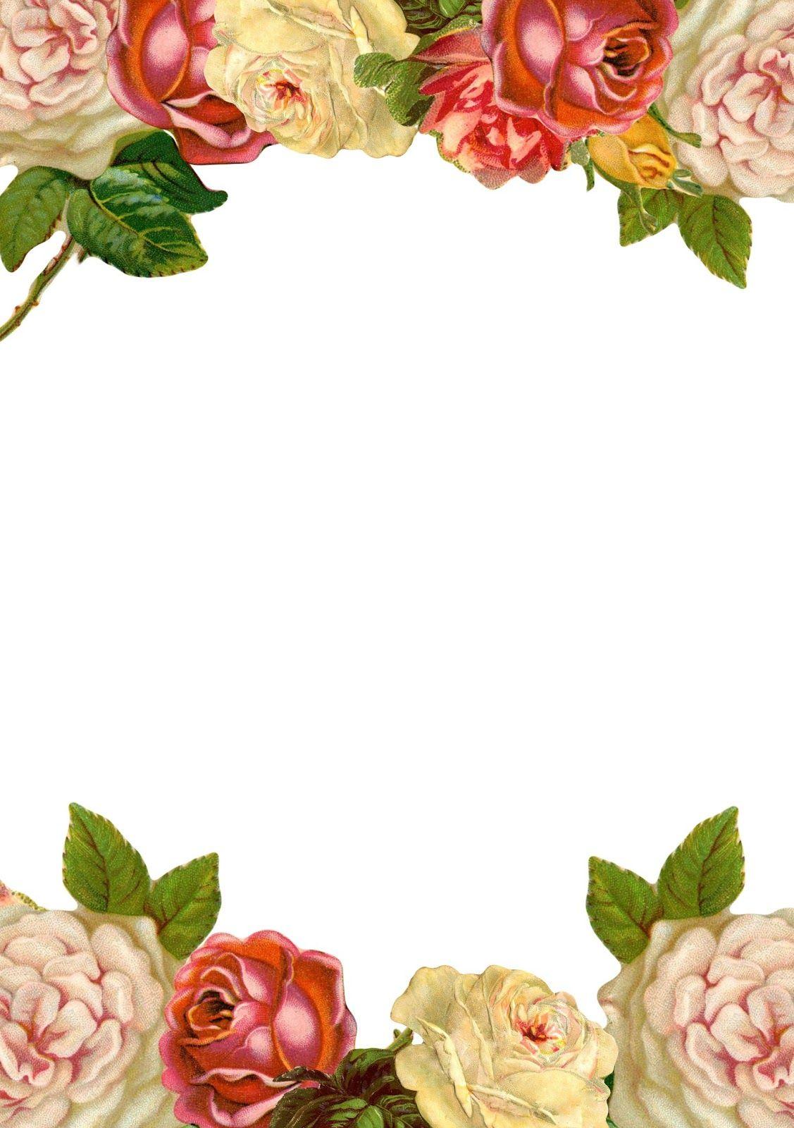 Free printable vintage rose stationery multicolored
