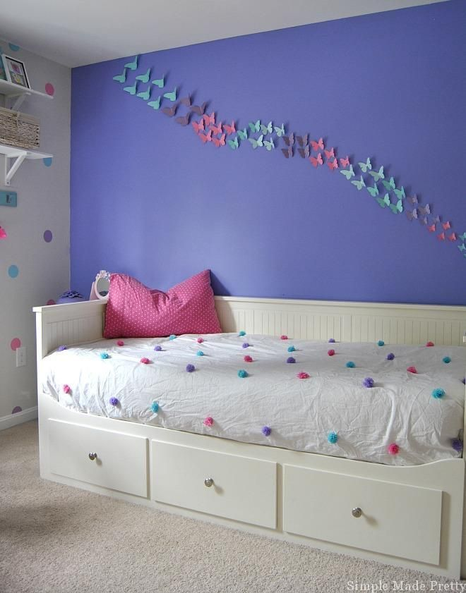 Girls Bedroom Home Decor that You Can DIY on a Budget is part of Girls bedroom Themes - Update a girl's bedroom with this Girls Bedroom Home Decor that You Can DIY on a Budget with a Purple, Pink, and Teal Theme  This girl's purple bedroom decor is mostly DIY bedroom decor projects made using my Cricut Explore, paint, cardstock, and other inexpensive materials  We went with a Teal bedroom theme so it wasn't purple overload  We incorporated a Pink bedroom theme because our daughter had so many leftover pink decor items since her previous bedroom was pink