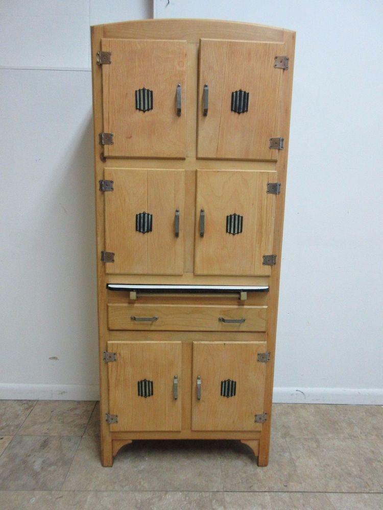 Antique Kubbyland Hoosier Style Slender Kitchen Cabinet Cupboard
