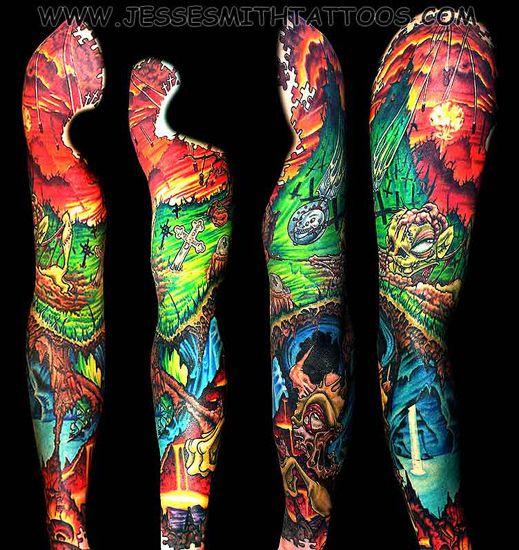 Zombies Tattoos On Right Sleeve Full Sleeve Zombie Graveyard Tattoo Tattoos Halloween Tattoos Sleeve Sleeve Tattoos