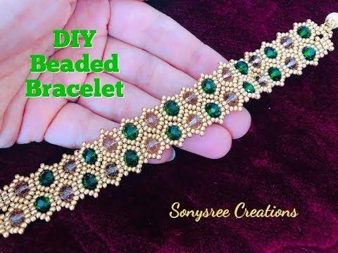Emerald Beaded Bracelet. DIY Beaded Bracelet.How to make beaded Bracelet - YouTube #beads
