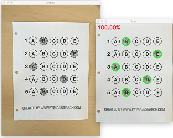 Bubble sheet multiple choice scanner and test grader using OMR