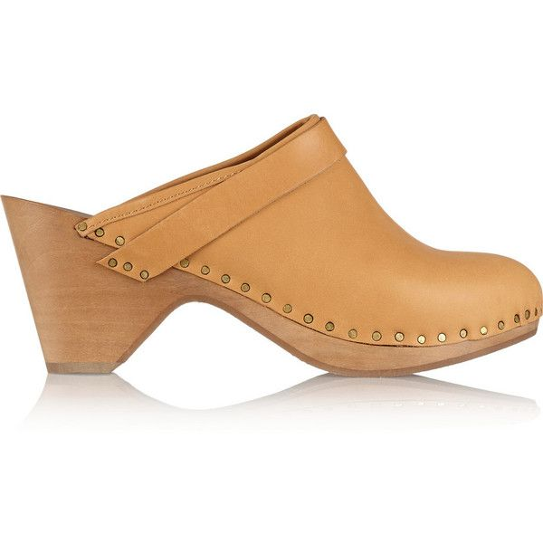 Isabel Marant Towson studded leather clogs ($190) ❤ liked on Polyvore featuring shoes, clogs, camel, wooden heel clogs, leather slip on shoes, high heel platform shoes, round cap and isabel marant shoes