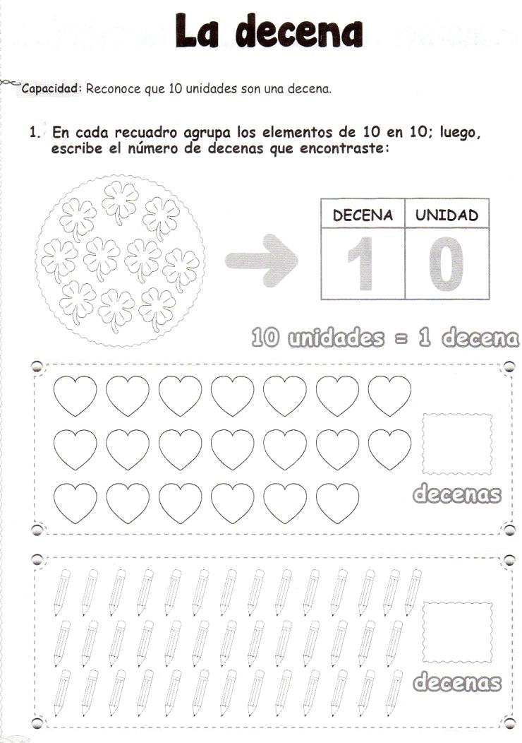 Ficha imprimible de matemáticas para 5 años: La decenaActividad a ...