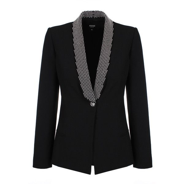 Versus Versace Studded Lapel Jacket ($725) ❤ liked on Polyvore featuring  outerwear, jackets