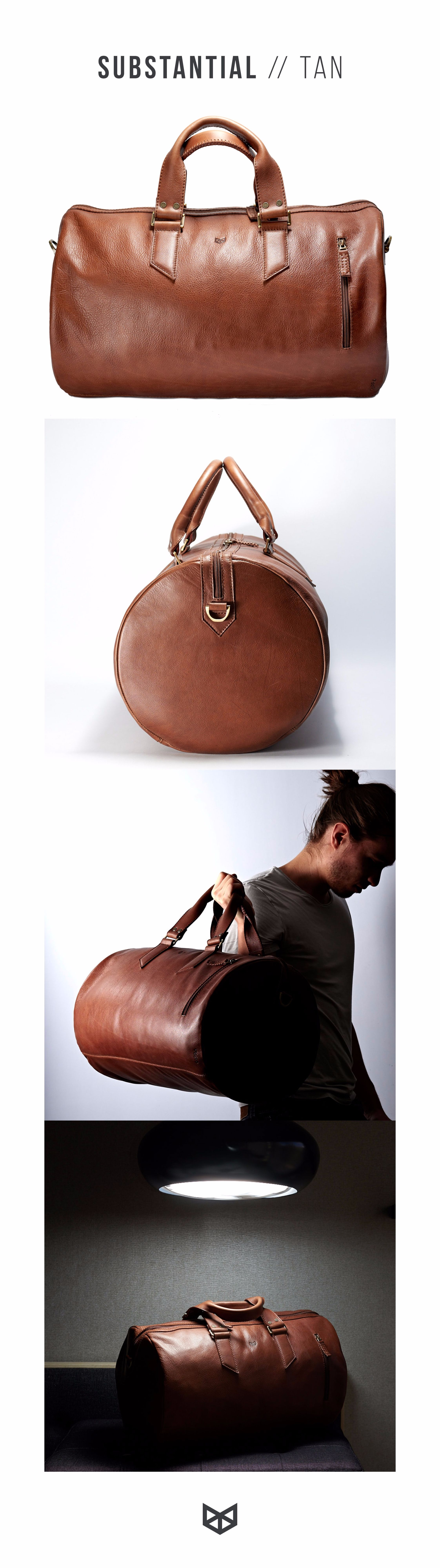 caa37811610a Substantial Leather Duffle Bag in Tan leather. Made from full grain leather  and cotton lining