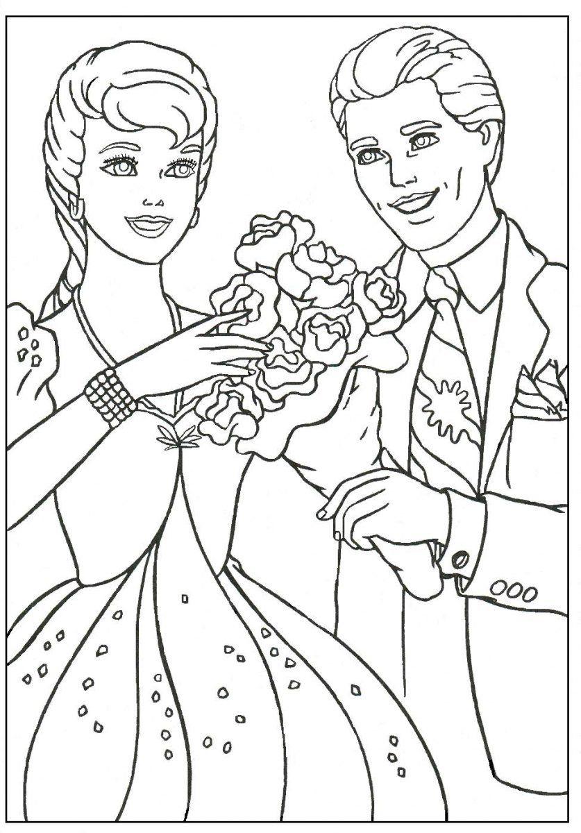 Imagenes De Barbie Y Ken Para Pintar  Cartoon coloring pages