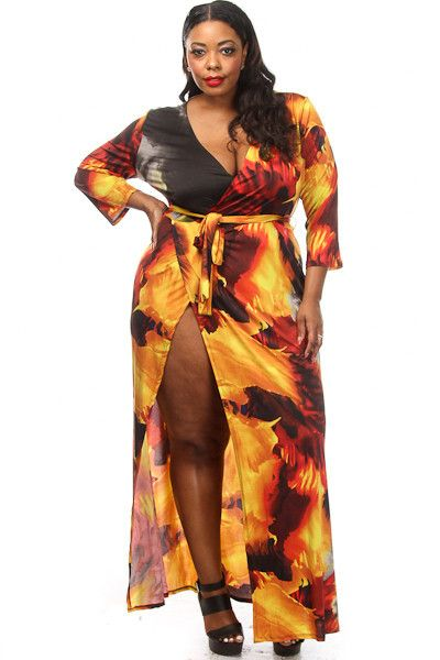 Plus Size Flame Print Maxi Dress Animal Print Maxi Dresses b47f8673f