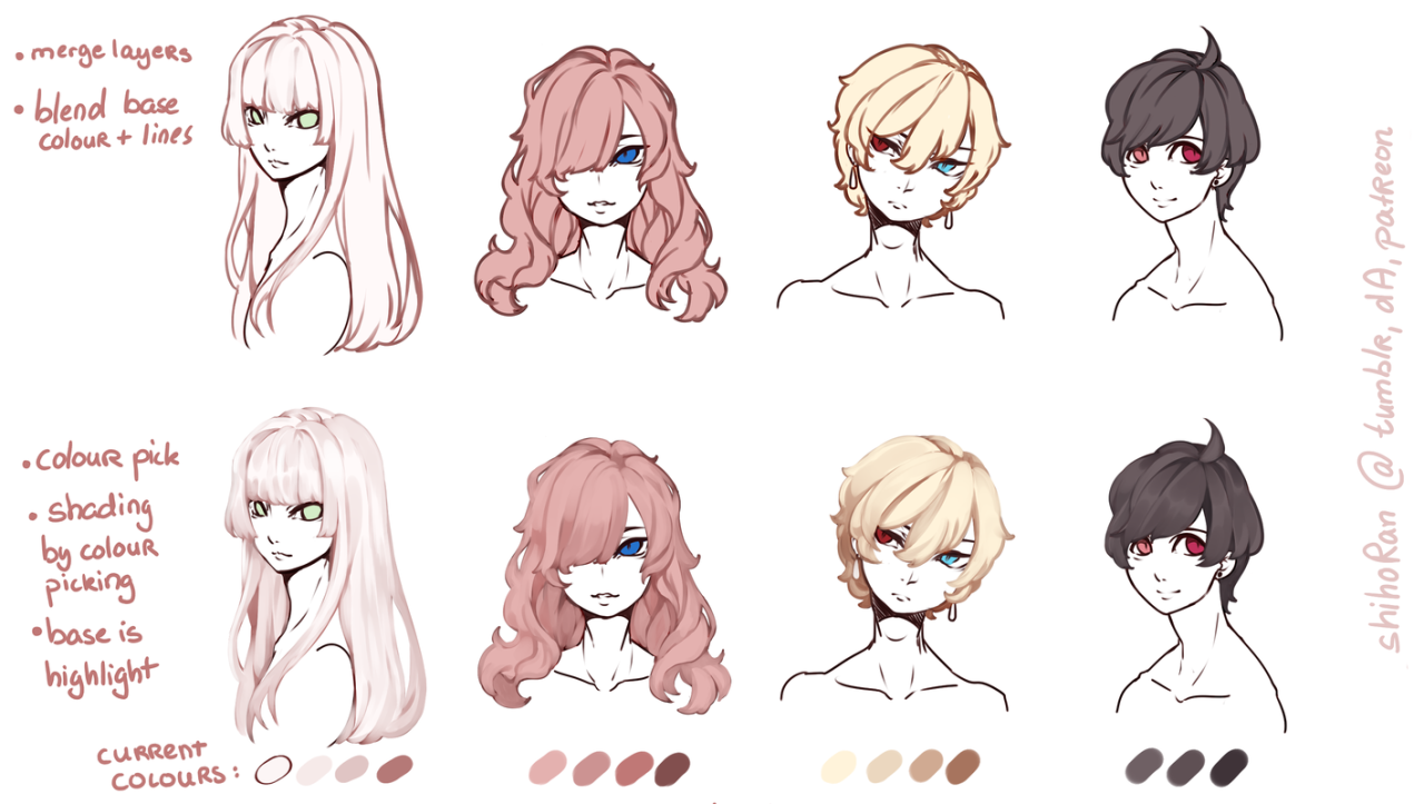 All The References Shihoran How I Draw Hair O My Patreon Art Reference How To Draw Hair Anime Drawings Tutorials