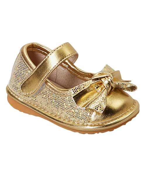 6d0d17f304 Look at this Laniecakes Gold Sparkle Bow Squeaker Mary Jane on  zulily today !