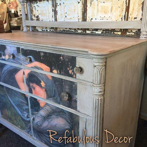 Sideboard Dresser Cabinet Decoupage Artwork By
