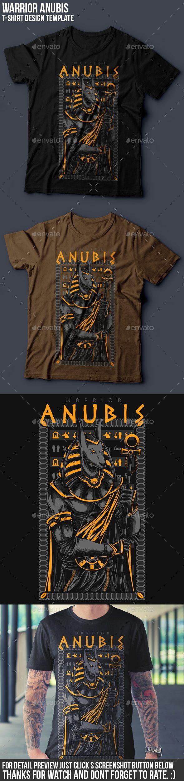 Shirt design illustrator template - Anubis Warrior T Shirt Design