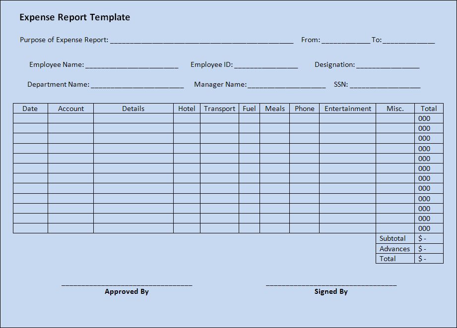 An Expense Report Is Usually Prepared To Help Businesses