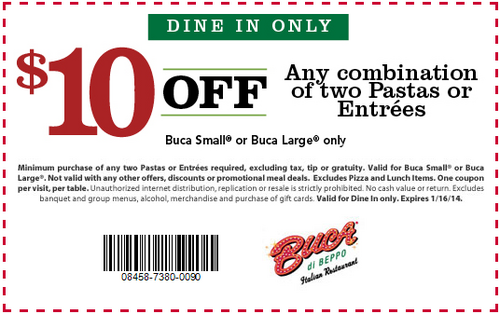 image relating to Buca Di Beppo Coupons Printable named Buca di Beppo Coupon codes Evening meal Discount coupons, Cost-free, Entrees
