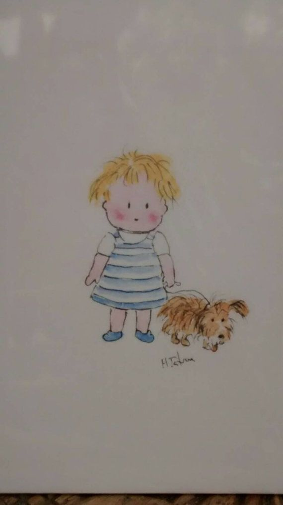 No 150 Little Girl And Puppy Card Childrens Cards Card For Pet