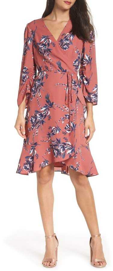 72e83ea6003d Charles Henry Ruched Sleeve Wrap Dress | Products | Dresses, Fall ...
