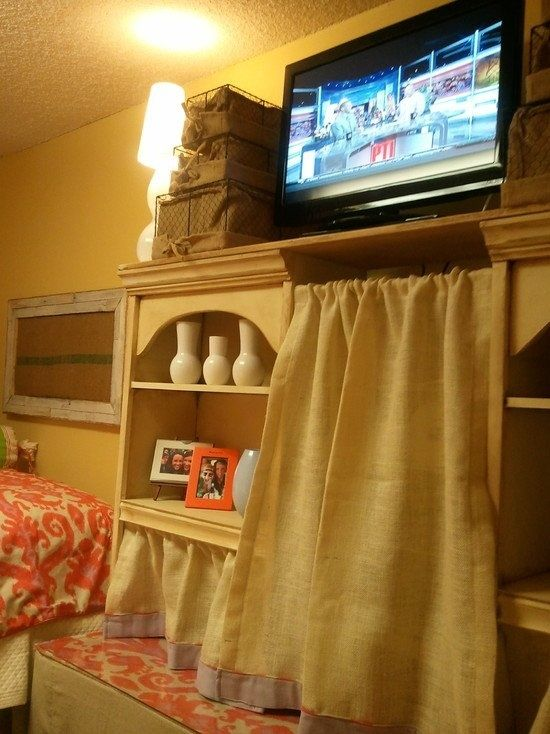Using Shelves As A Small Closet And TV Stand Is A Great Use Of Space In A  College Dorm Room.