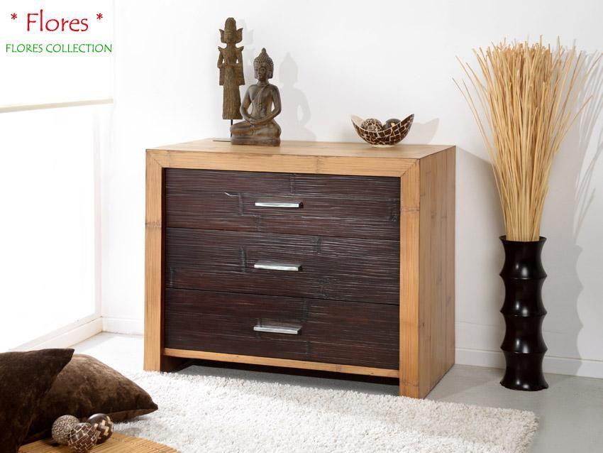 Bambus Sideboard Flores (3 Schubladen) Bambusmöbel für Dein - sideboard für schlafzimmer