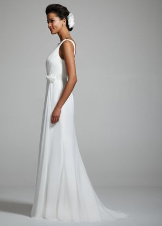 Make a declaration of simple elegance in this understated beautiful chiffon gown!    Chiffon tank gown features gorgeous and flattering ruched bodice.  Side drape detail and long flowing skirt adds movement and dimension.  Sweep train. Available in Ivory.  Fully lined. Back zip. Imported polyester. Dry clean.
