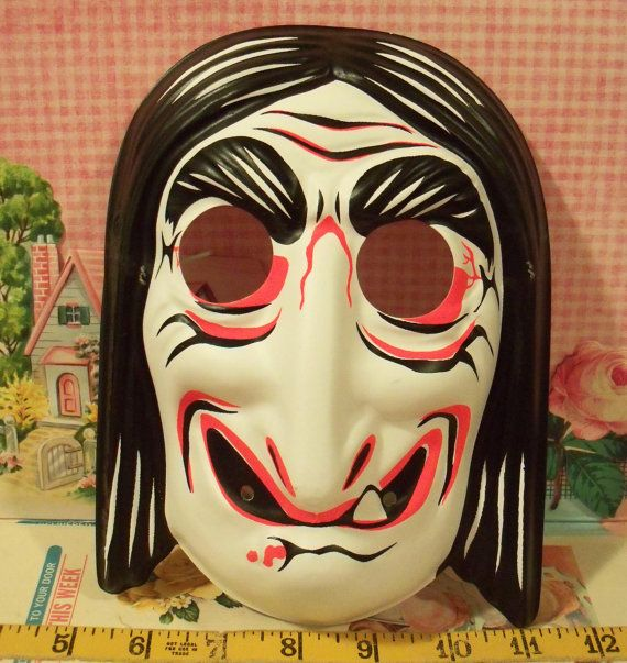 Vintage Collegeville Hag Witch Halloween Mask Child Size Made In USA Via
