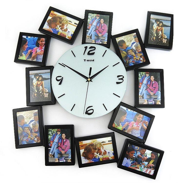 【壁掛け時計】フォトフレーム付写真12枚収納と時計が一体♪ 時計 静音時計
