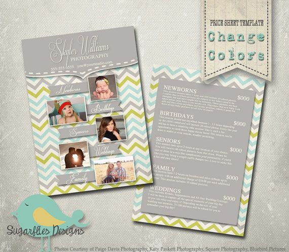 Photography Price Sheet Template - Photography Price Sheet Chevron - Price Sheet Template