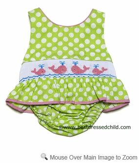 Anavini Infant / Toddler Girls Green Polka Dots Smocked Preppy Pink Whales Ruffle ONE Piece Swimsuit