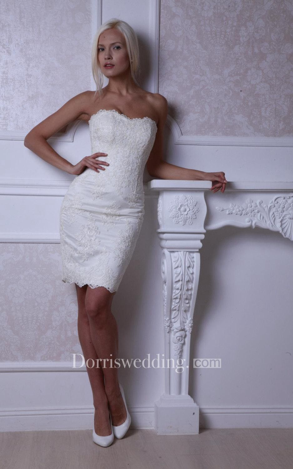 Form Fitted Strapless Short Lace Dress With Lace Up Back Fitted Lace Wedding Dress Short Wedding Gowns Short Bridal Dress
