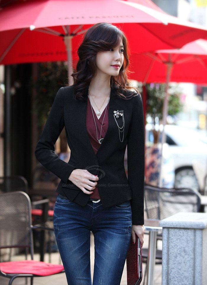 V-Neck Single Button Slim Fit Long Sleeved Black Women's Blazer (BLACK,M), Blazers - fashiondresswholesale.com