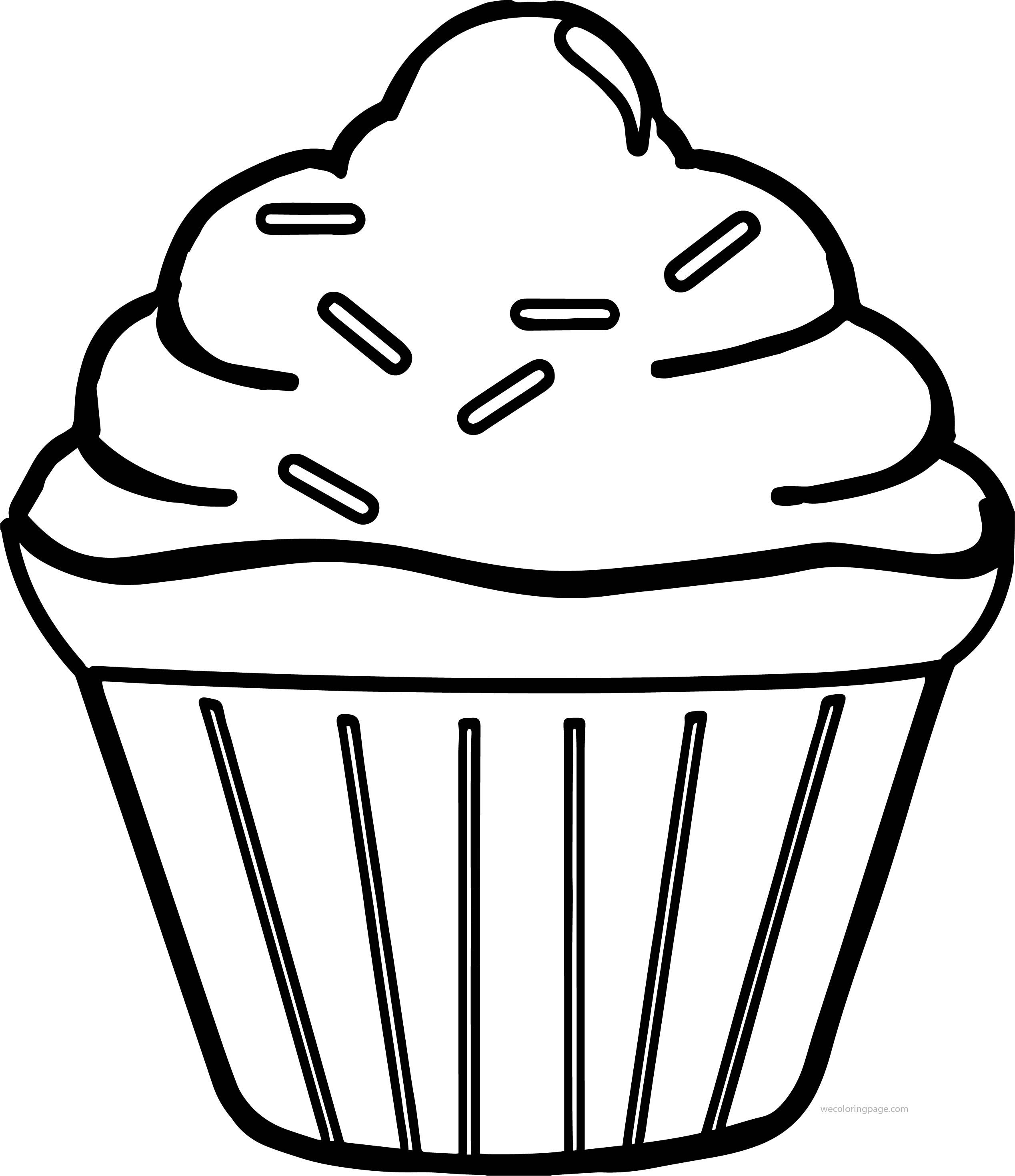 Cool Simple Cupcake Coloring Page