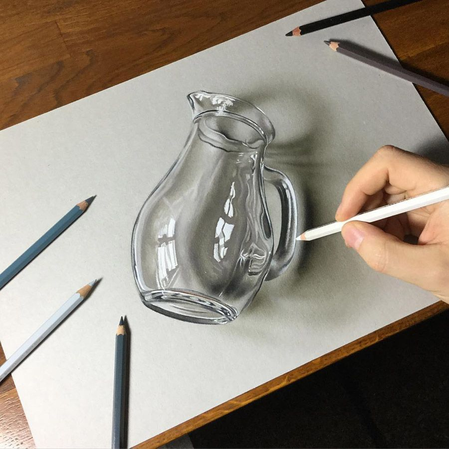 Glass pitcher by marcello barenghi art tutorials drawings of 3d pencil drawings abstract