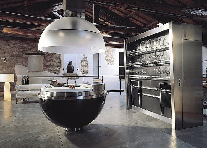 Cuisine design spherique gatto cucine sheer carbone