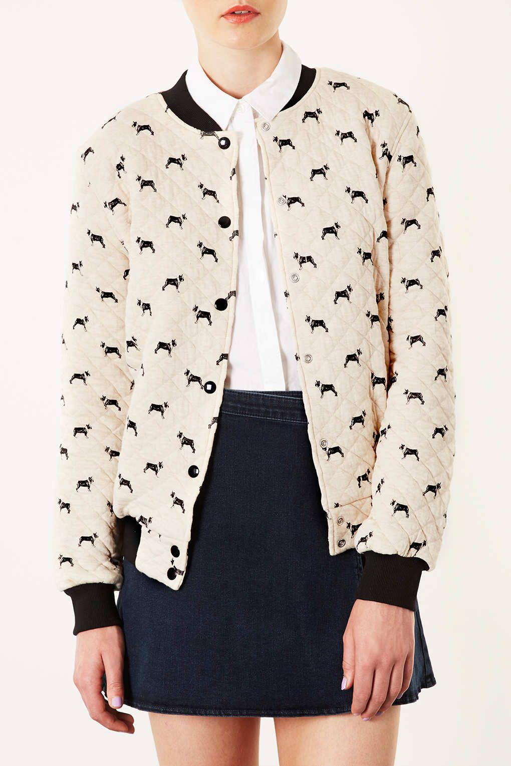 Topshop Indonesia Closure Quilted Bomber Jacket Quilted Bomber Jackets [ 1530 x 1020 Pixel ]