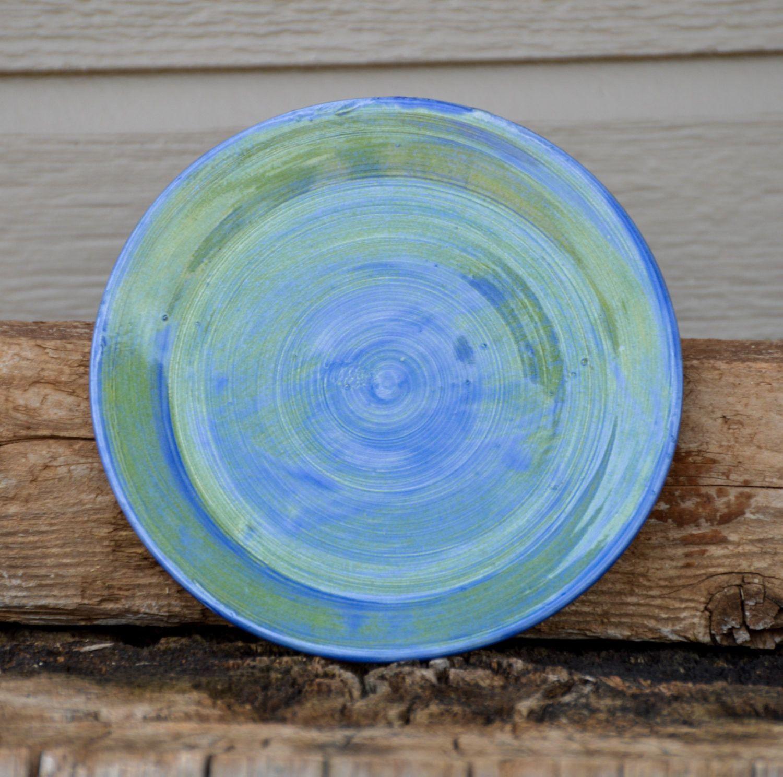 Large Porcelain Saucer, Porcelain, Blue & Green Saucer, Wheel Thrown, Sandwich Plate