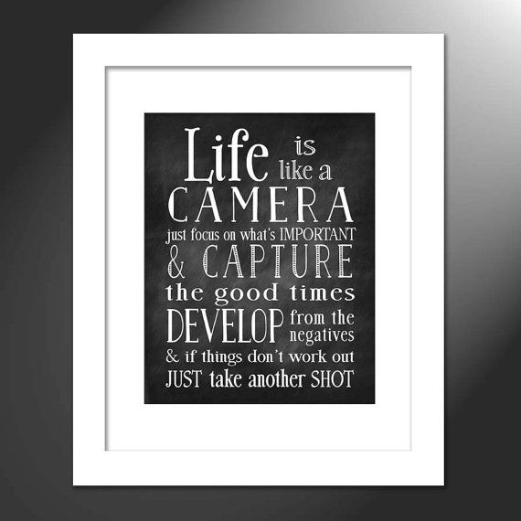 Life Is Like A Camera Photographer Gift Camera Lover Etsy Camera Quotes Art Prints Quotes Wall Art Quotes