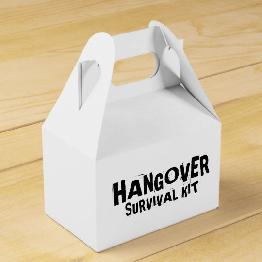 """Give this """"Hangover Survival Kit"""" to bachelor/bachelorette party-goers or anyone celebrating a 21st birthday, etc."""