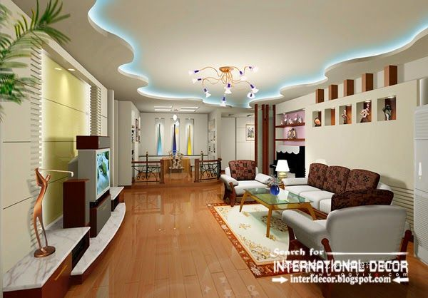 Living Room Ceiling Designs Delectable Plasterboard Ceiling Designs And Lighting For Modern Living Room Inspiration Design