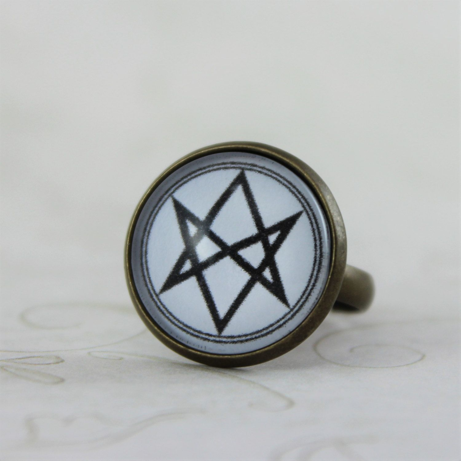Men Of Letters Symbol Ring Supernatural Jewelry Adjustable Ring