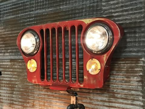 Steampunk Industrial Jeep Grille Wall Hanger Sconce #2003