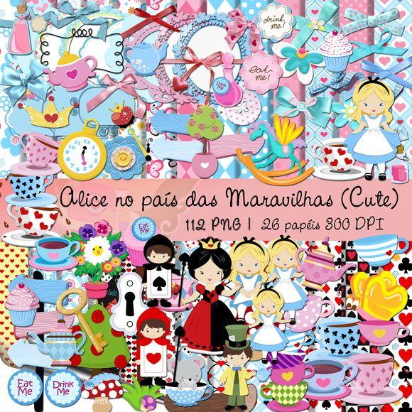 Kit Digital Scrapbook Alice No Pai Das Maravilhas Cute Lindo Kit