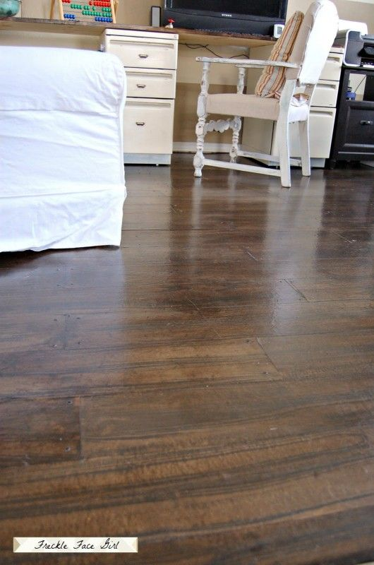 Wood Plank Floor Using Brown Paper Freckle Face Girl For