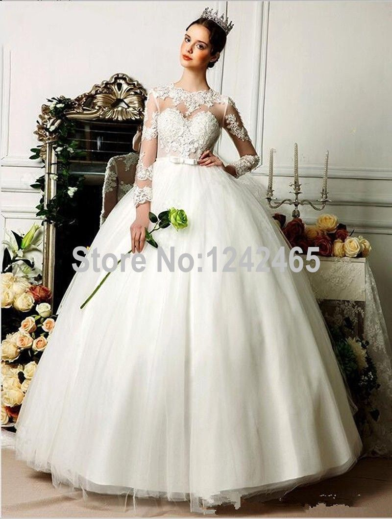 Find More Wedding Dresses Information about Ball Gown High Neck ...