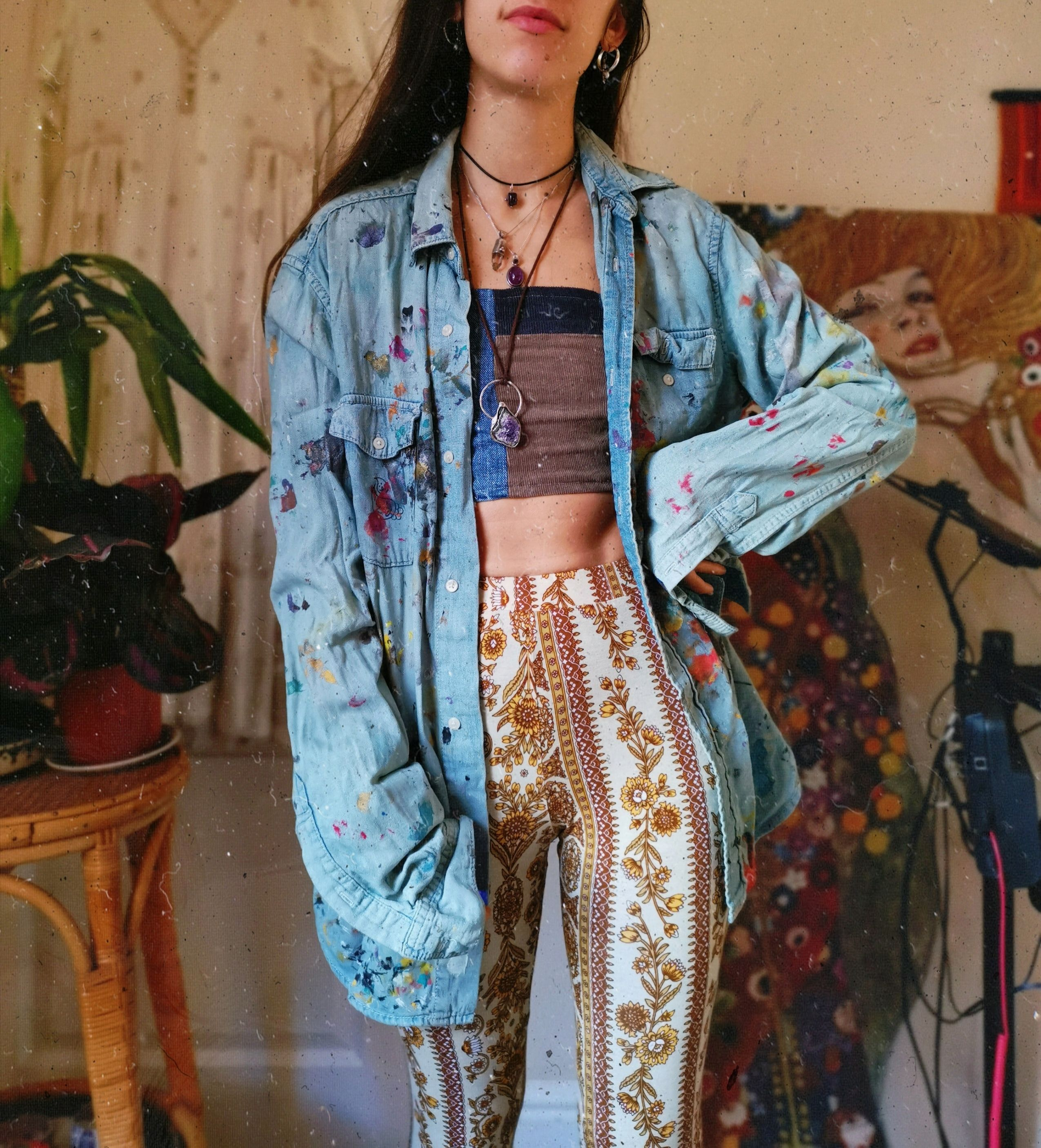 Art Girl Aesthetic, Hippie Flares, Painted Denim,