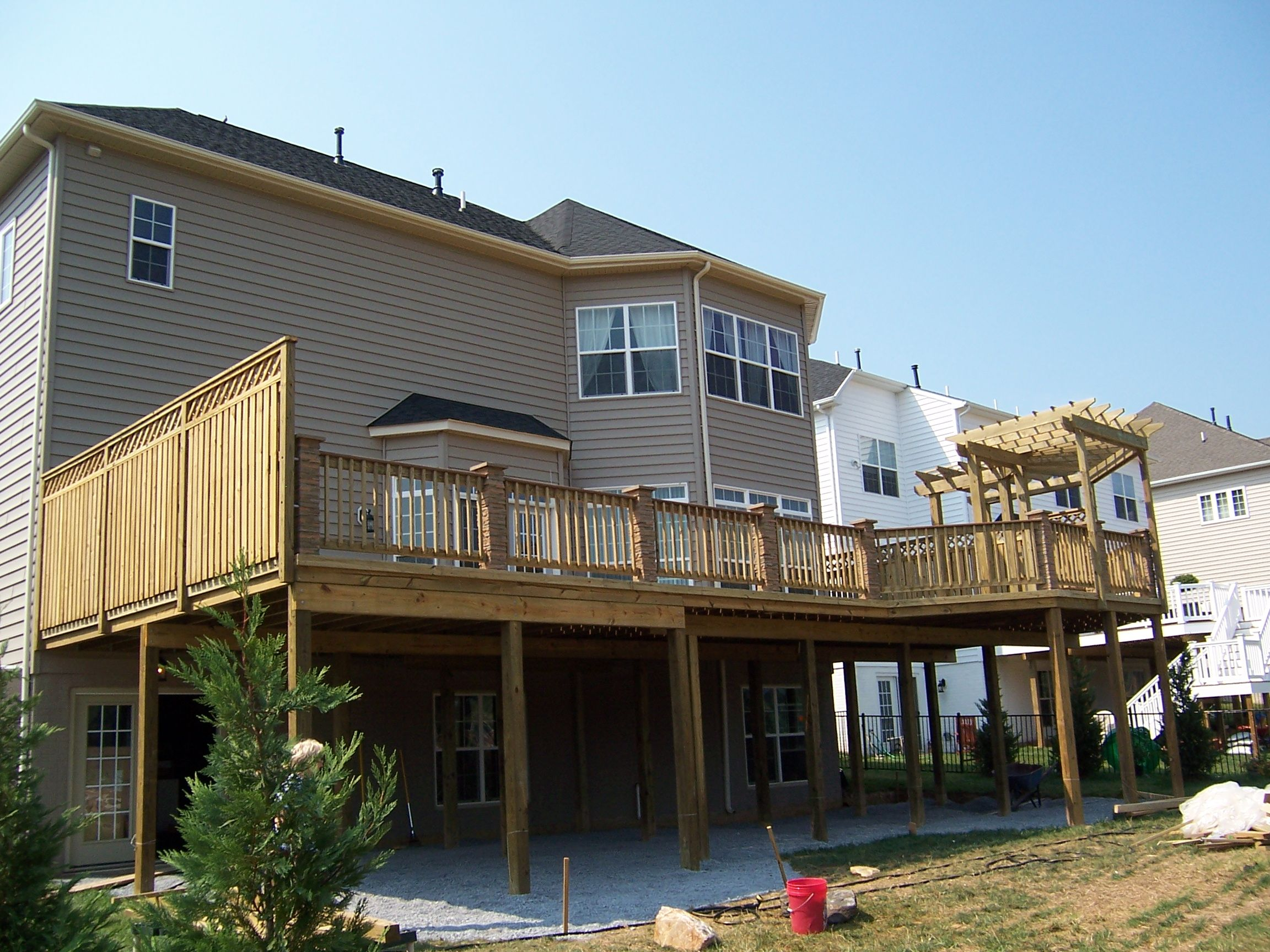2nd Story Wood Deck With Privacy Section And Pergola Deck Privacy Second Story Deck Gazebo On Deck