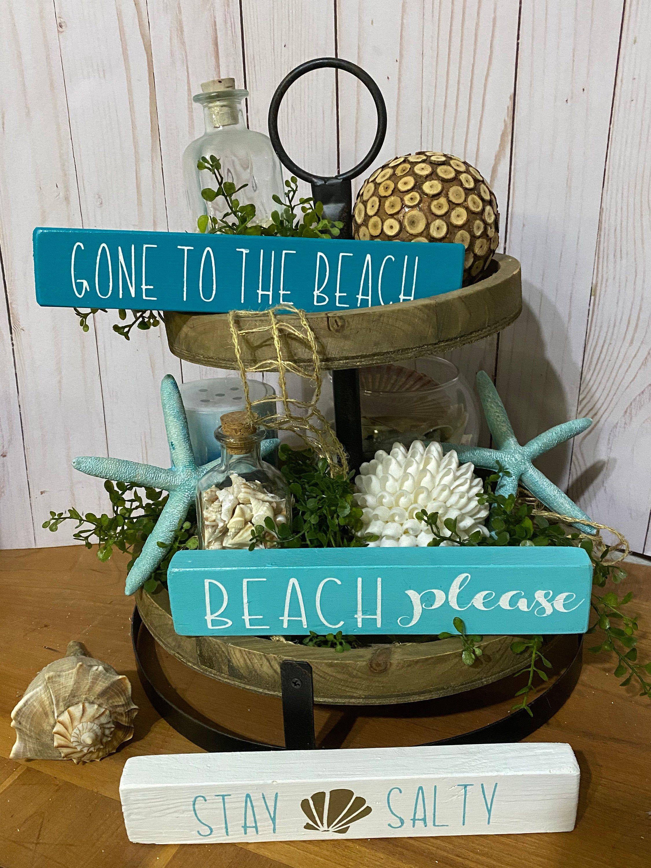 Beach Themed Decor Tier Tray Signs Beach Coastal Tiered Tray Decor