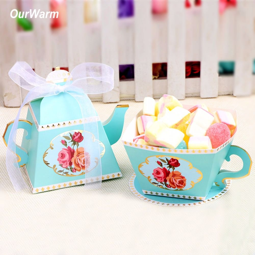 OurWarm 10Pcs Wedding Paper Candy Gift Box Teapot Candy Bag Gifts for Guest Baby Shower Birthday Wedding Favors Party Decoration