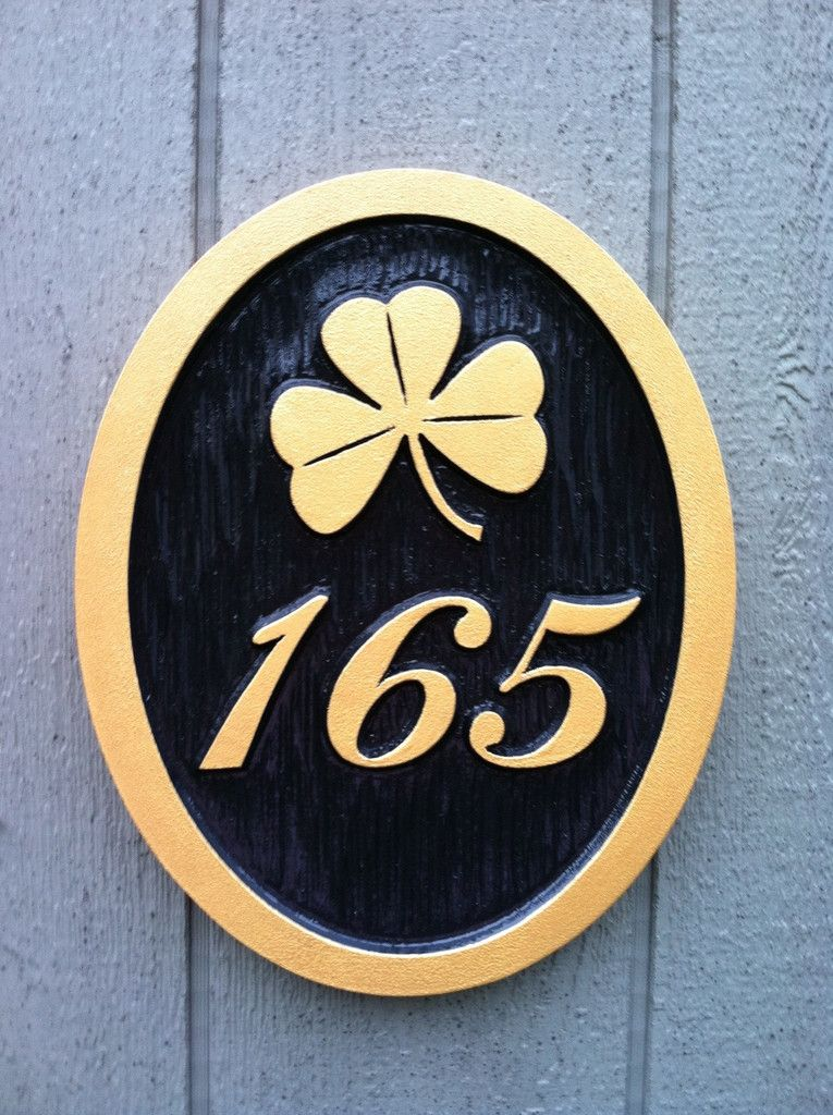 3 Digit Custom House Number With Shamrock Or Other Image A8