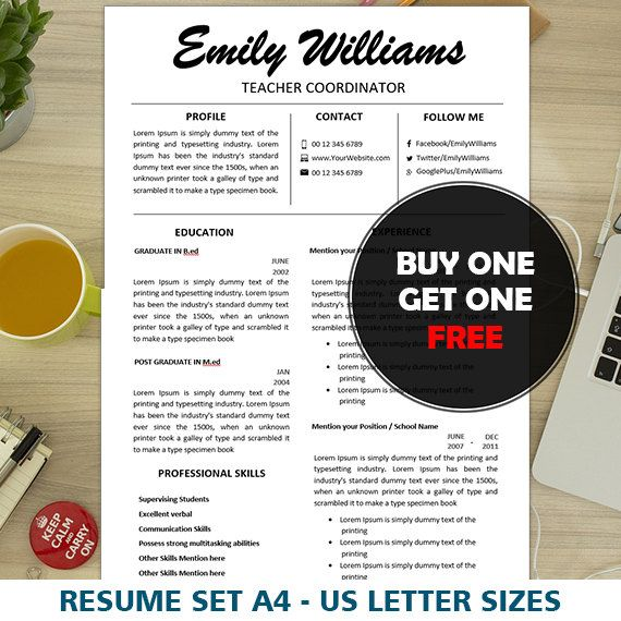 Teacher CV Design, Instant Digital Download, 1, 2, 3 Page CV, Modern