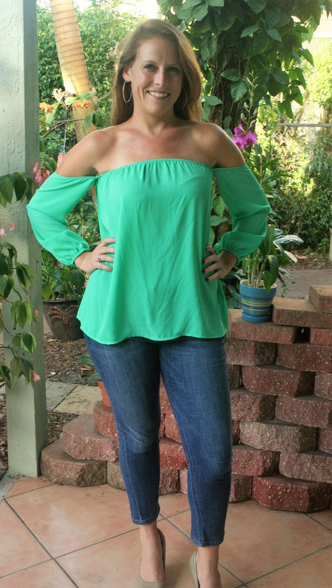 a5a86758bf9 Pretty Green Off the Shoulder Top | clothes | Tops, Off the shoulder ...