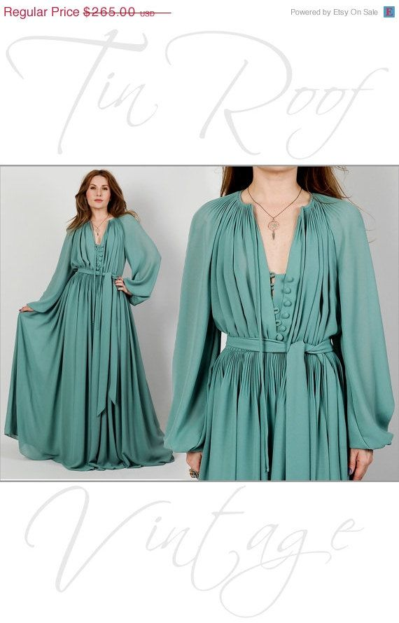 On Vintage 70s Dess D Poet Sleeve Maxi Dress S M Pastel Sage Sheer Gathered
